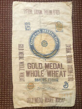 vtg General Mills Gold Medal Whole Wheat Flour Sack 100 lbs cloth bag