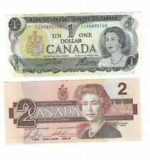 Canada $1 1973 & $2 1986 Paper Money Both LAST ISSUES - Circulated Condition