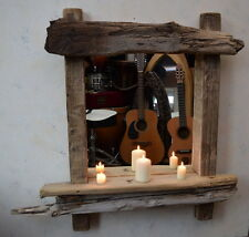 Chunky Character Dorset Driftwood Mirror with Shelf 94.5cm long Hand Made