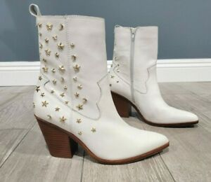 ALDO Tezza Sophie Rose white leather western gold stars moon ankle boots 9M