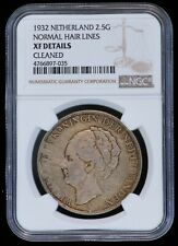 1932 Netherlands 2 1/2 Gulden Silver Coin (NGC  XF Details) KM#165 Normal Hair