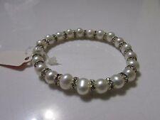 6mm White Freshwater Pearl Rhinestone Elastic Bracelet Classy Elegant Handmade