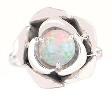 1.20 Carat Round Cut Natural Australian Opal Engagement Ring In 14KT White Gold
