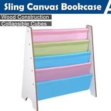 Wooden Sling Canvas Book Case Bookshelf Magazine Kids Children Bedroom Storage