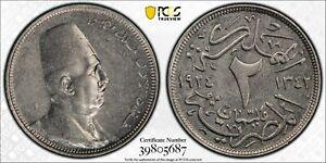 EGYPT , SPECIMEN 2 MILLIEMES KING FUAD 1924 PCGS SP 58 ( ST1B ) , RARE