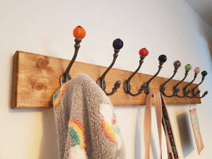 Wooden Coat Hook Rack, Rustic Style with Vintage Coloured Iron Double Hooks