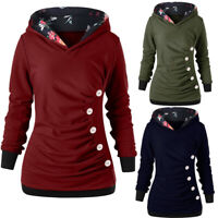Women Long Sleeve Hoodies Top Buttons Pullover Pocket Sweatshirt Hooded Sweater