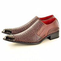 Mens Leather Lined Crocodile Skin metal toe Winkle Pickers Shoes in UK Size 6-12