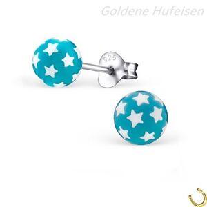Kristalle Emaille Ohrstecker 925 Echt Silber Ohrringe Kinder Mädchen Creolen