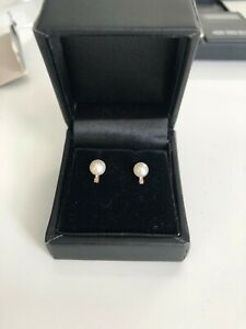 Cultured Pearl & Diamond Womens Stud Earrings 585  14ct Yellow Gold