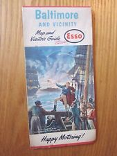 1963 Baltimore Maryland and Vicinity Esso Oil Road Map free shipping