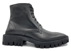 $1,100 Balenciaga Black Military Leather Boots size US 11, EU 44, Made in Italy