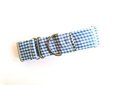 "1.5"" Martingale Dog Collar PICNIC BLUE Greyhound Lurcher 12""-17"" MEDIUM"