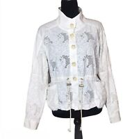 Anthropologie White Knit Bomber Jacket Embroidered Floral Button Front Small