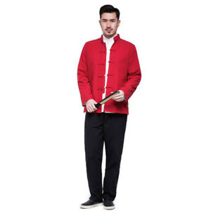Mens Traditional Chinese Tang Suit Jacket Set Kung Fu Taichi Martial Art Uniform