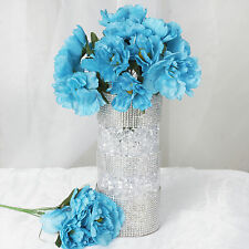60 Turquoise SILK PEONY Flowers - 12 bushes Wedding Party Centerpieces
