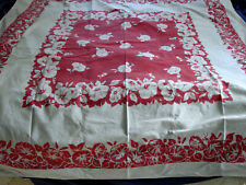 """Vintage 30s 40s Tablecloth Red Morning Glories Floral Cotton 47x51"""""""