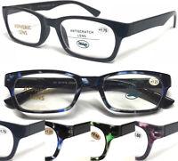 L876 Superb Quality Plastic Reading Glasses & Spring Hinges & Classic Black Arms