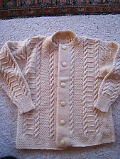 Vintage Handknit Wool Sweater Cardigan Size S Chunky Cable EUC