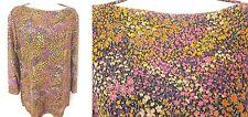 COLDWATER CREEK Black Floral Crinkle Knit Pullover Top Blouse Medium