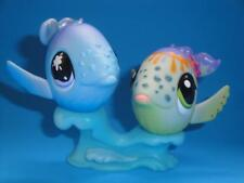 Littlest Pet Shop LPS Lot of 2 Whale Pair #824 & #1852 Swim & Sun + Wave Acc EUC
