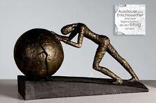 59598 Sculpture Heavy Ball de Poly Effet bronze sur fond noir Base Hauteur