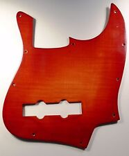NEW PICKGUARD JAZZ BASS - Bois flammé plastifié rouge  - pour guitare JBass