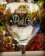 Personalised Engraved Pink Gin Balloon Glass - New - Handmade