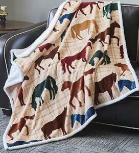 New Flannel Horse Luxury Sherpa Gift Fleece Throw Blanket Home Western Decor Art