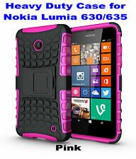 Pink Heavy Duty Strong Tradesman TPU Case Cover Stand For Nokia Lumia 630/635
