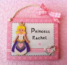 Princess Door Sign PERSONALISED WITH ANY NAME Handmade Girls Child's Pink Plaque