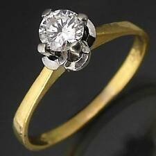 Higher Set Vintage 70's 18k Solid Yellow GOLD DIAMOND SOLITAIRE RING Val=$4040