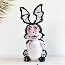 Crochet Bunny Vampire, Amigurumi Bunnicula, Handmade Plushy Toy, Stuffed Bunny
