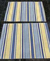 "Set of 4 Yellow Blue Striped Placemats 19""x13"" Reversible Colorful Spring"