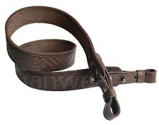 Brick Design Brown Leather Rifle Sling Shotgun Air Gun Strap Hunting Shooting