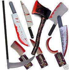 Bloody Knife Axe Scythe Halloween Monster Butchers Blood Splattered Weapon Prop