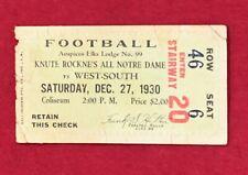 Antique 1930 Knute Rockne Last Football Game Notre Dame All Stars Ticket Vintage
