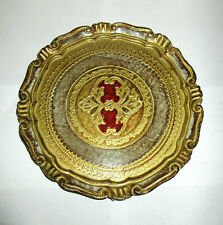 Vtg Florentia Round Plate Tray Florentine Hollywood Regency Toleware Gold Red