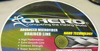 CHOOSE COLOR 300 YDS 50 lbs OHERO ADVANCED BRAIDED MICROFIBER FISHING LINE-