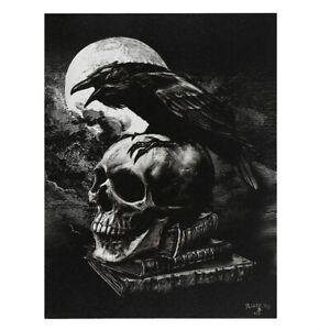 POE'S RAVEN ALCHEMY SMALL GOTHIC CANVAS PICTURE ART PRINT SKULL MOON EDGAR ALLEN
