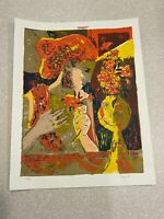 """Pappino Signed & Numbered Woodblock 36/180 """"Woman with Flowers"""" 1970's 20""""×15"""""""