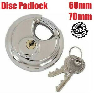 60, 70MM DISC PADLOCK SHACKLE STAINLESS STEEL 2 KEYS WATERPROOF DISCUS PADLOCKS