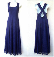VTG 1990s MAXI DRESS Floral LACE Blue Open Crossover Back Romantic Grunge Boho M