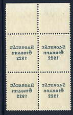IRELAND 1922 THOM 6D WITH OFFSET VARIETY VF MNH BLOCK OF 4