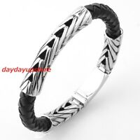"9"" Charm Braided Leather Men Women Stainless Steel Silver Black Bracelet Jewelry"