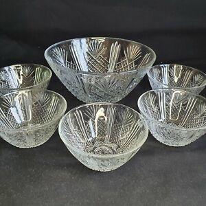 Vintage Italian Pressed Glass Fruit Salad Bowl Five Sundae Dessert Dishes Bowls