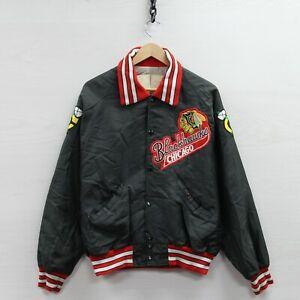 Vintage Chicago Blackhawks DeLong Light Bomber Jacket Size Large NHL Made USA