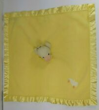 Blankets and Beyond Yellow Duck Security Blanket Satin Trim Nunu Lovey NEW