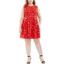 Anne Klein Womens Chatterly Rose Pleated Mini Scuba Dress Plus BHFO 9566