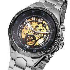 Luxury Automatic Mechanical Watch Men's Skeleton Gold Steel Stainless Wristwatch